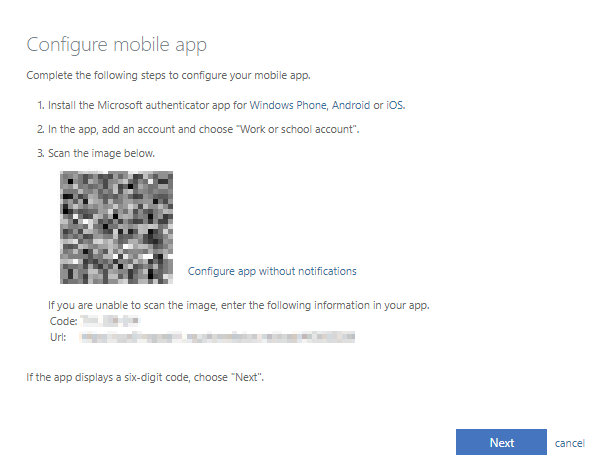 Configuring mobile app with QR code