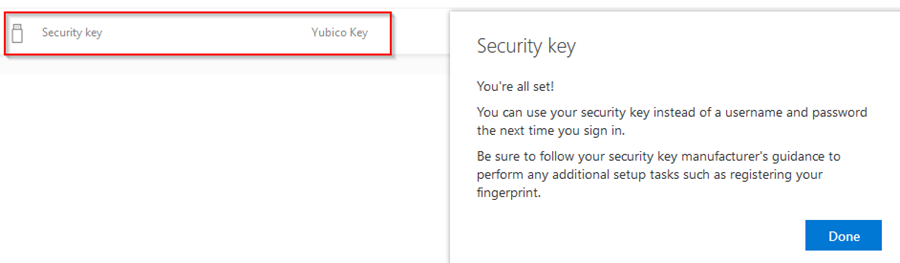 Now you can see your Security Key has been added to your account!