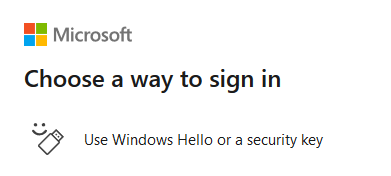 """The Security key cannot be your default MFAdevice, but when you log into M365 click """"Other ways to sign in"""" then click """"Use Windows Hello or a security key""""."""